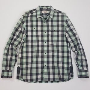 Penguin Classic Fit Black Snap Plaid Shirt Medium